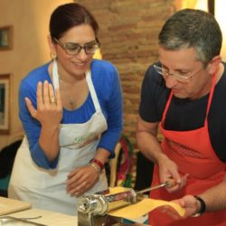 Cookery guests making pasta from scratch