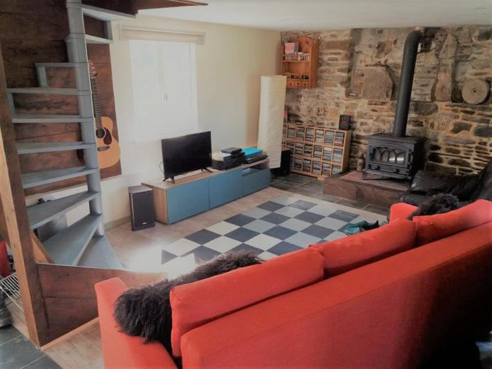 living room and log burner