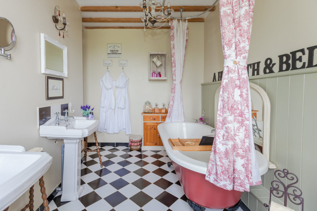newly renovated bathroom in French farmhouse
