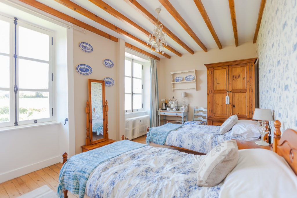 French country style bedroom in Normandy