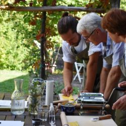 making pasta with chef in the garden