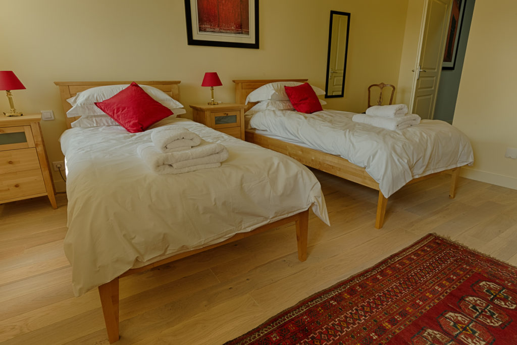 twin bedroom on photography holiday in France
