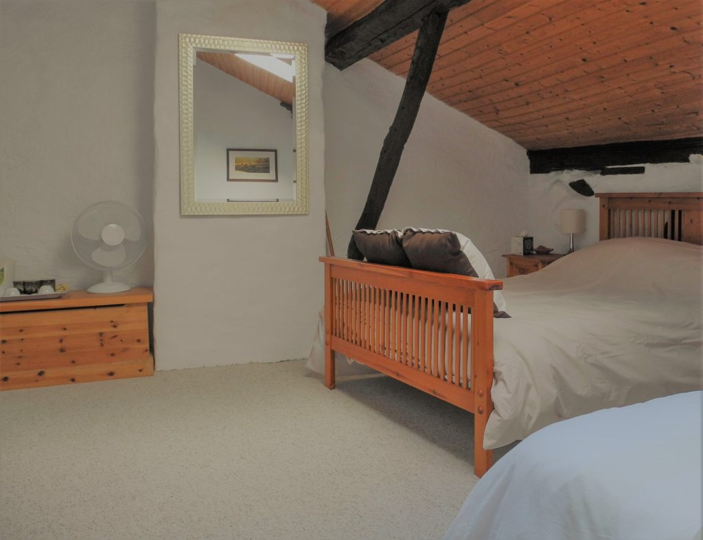 double bedroom in French photography holiday accommodation