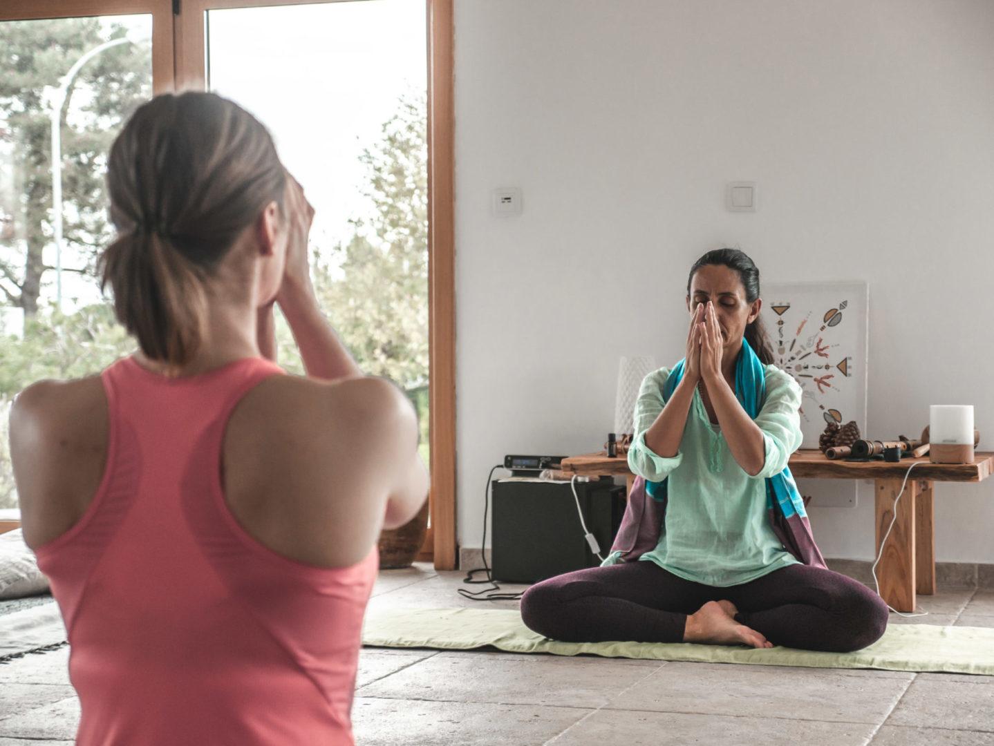 yoga lesson in studio