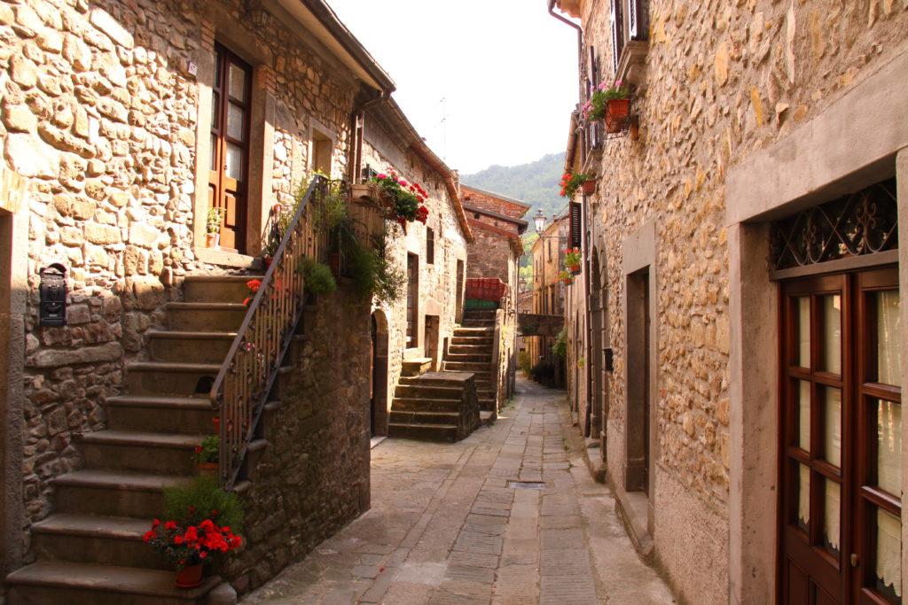 rustic Italian street in Tavernelle, Italy