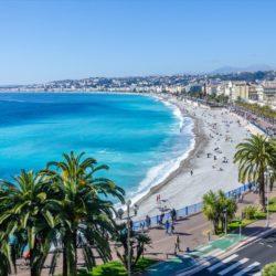 Beach promenade by sea in Nice, France