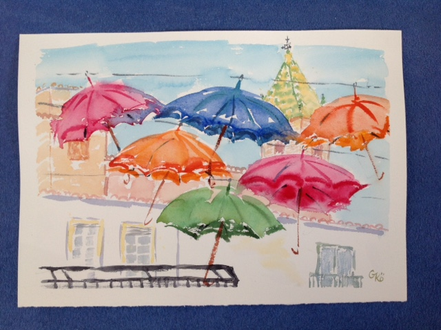 painting of colourful umbrellas