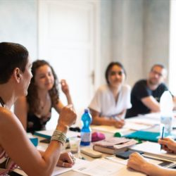 Italian language students in a classroom