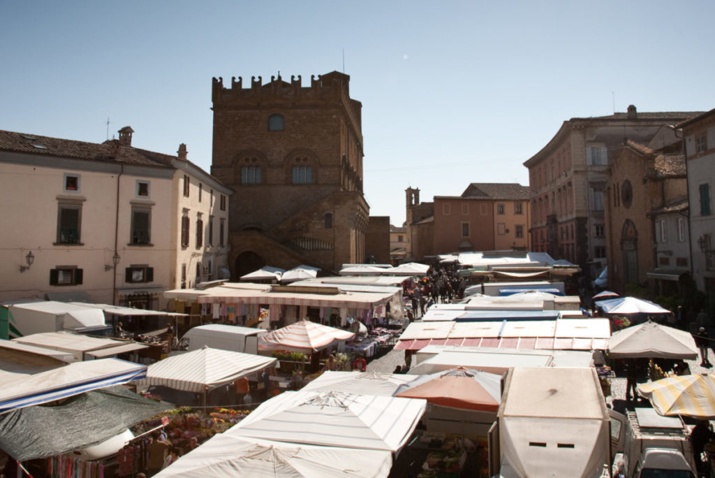 view of market in italian town