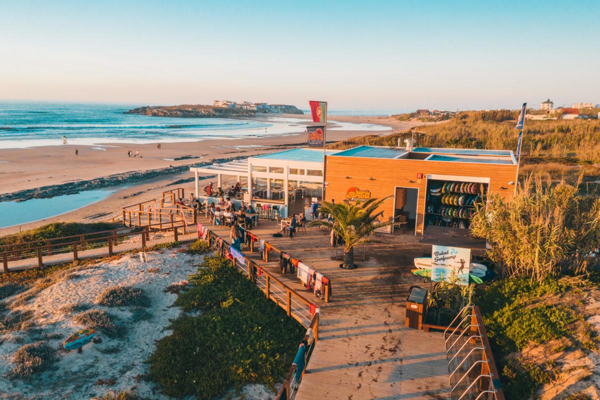 surfers beach bar on sandy beach