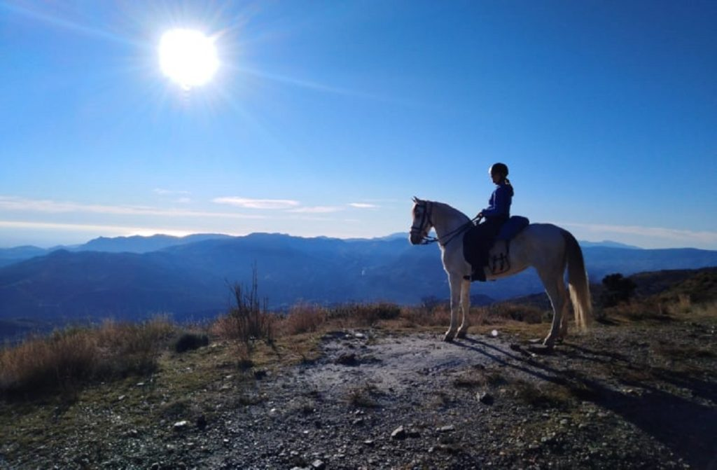 person looking at a view on horseback in andalucia