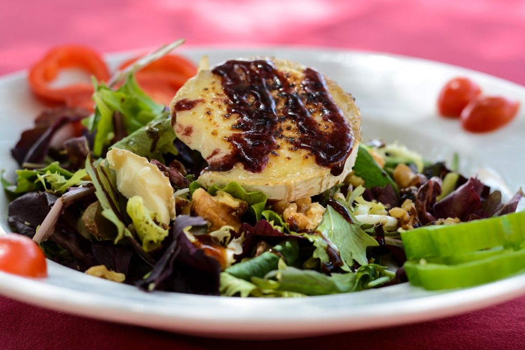 plate of goats cheese salad