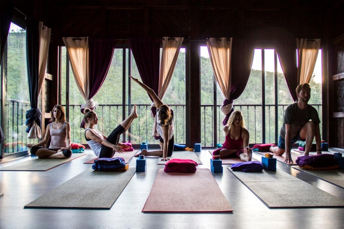 doing yoga in yoga shala