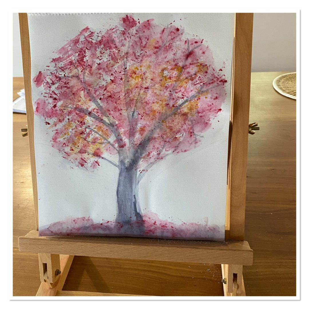 finished painting of tree with blossoms