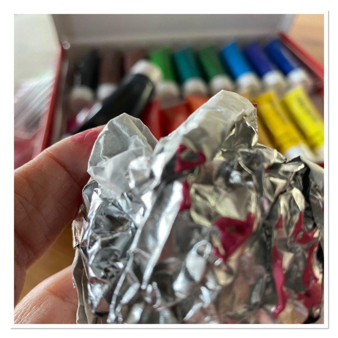 scrunched up tin foil