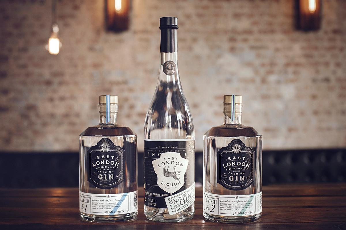 bottles of London gin