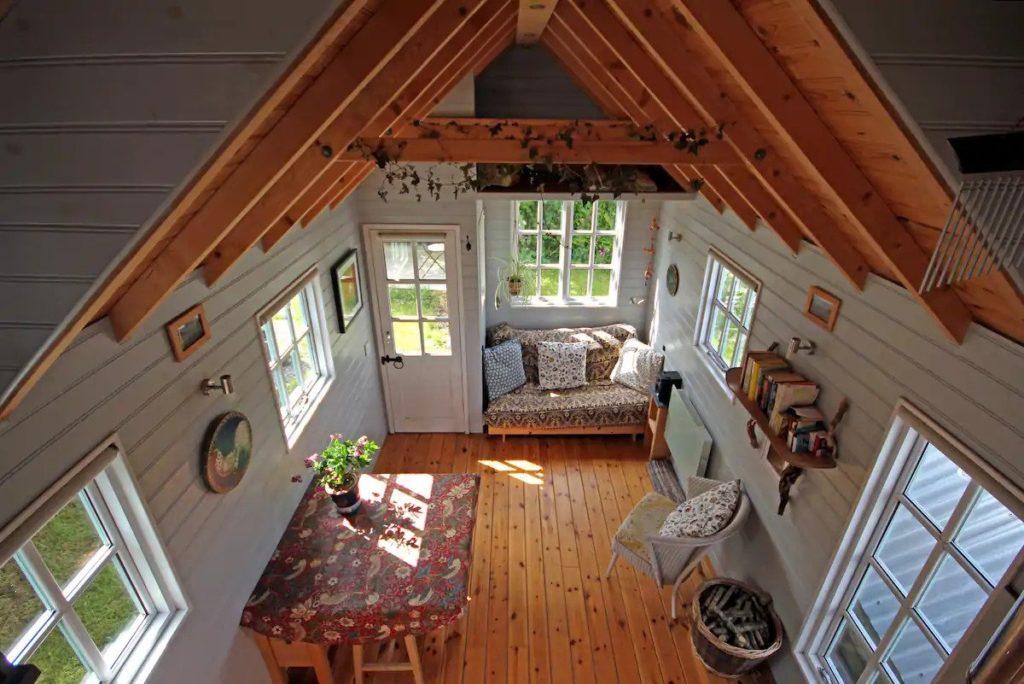 tiny house interior in cornwall