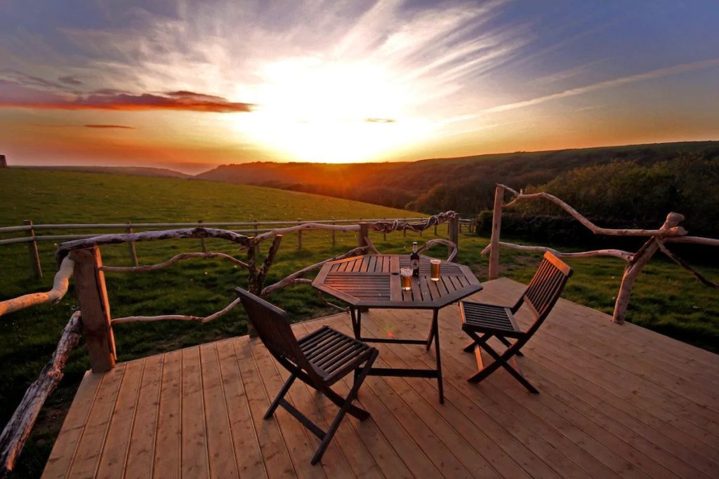 tiny house decking and sunset in cornwall