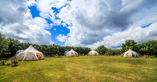 glamping tent accommodation in a field