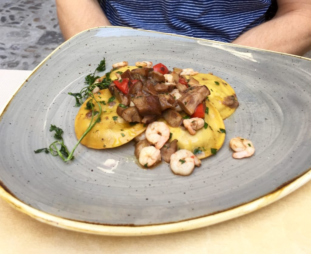 ravioli and mushroom dish