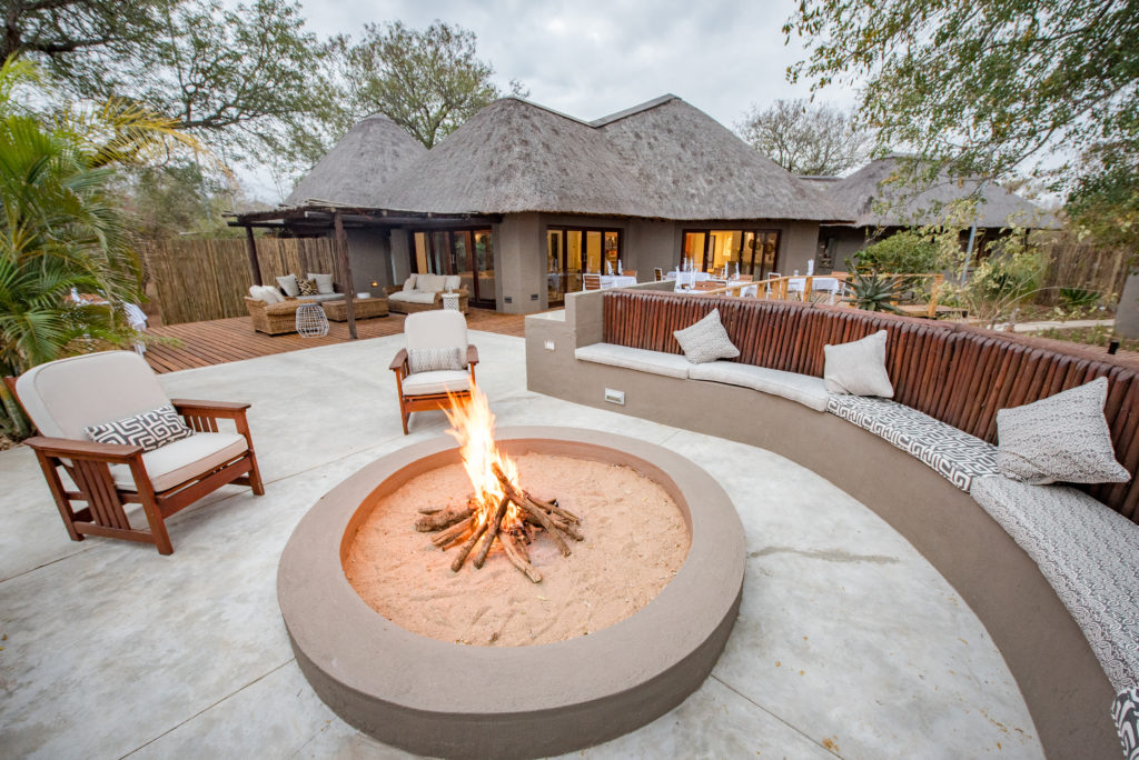 fire pit by a safari lodge south africa