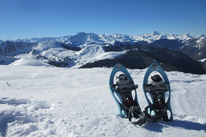 snowshoes in front of mountain view
