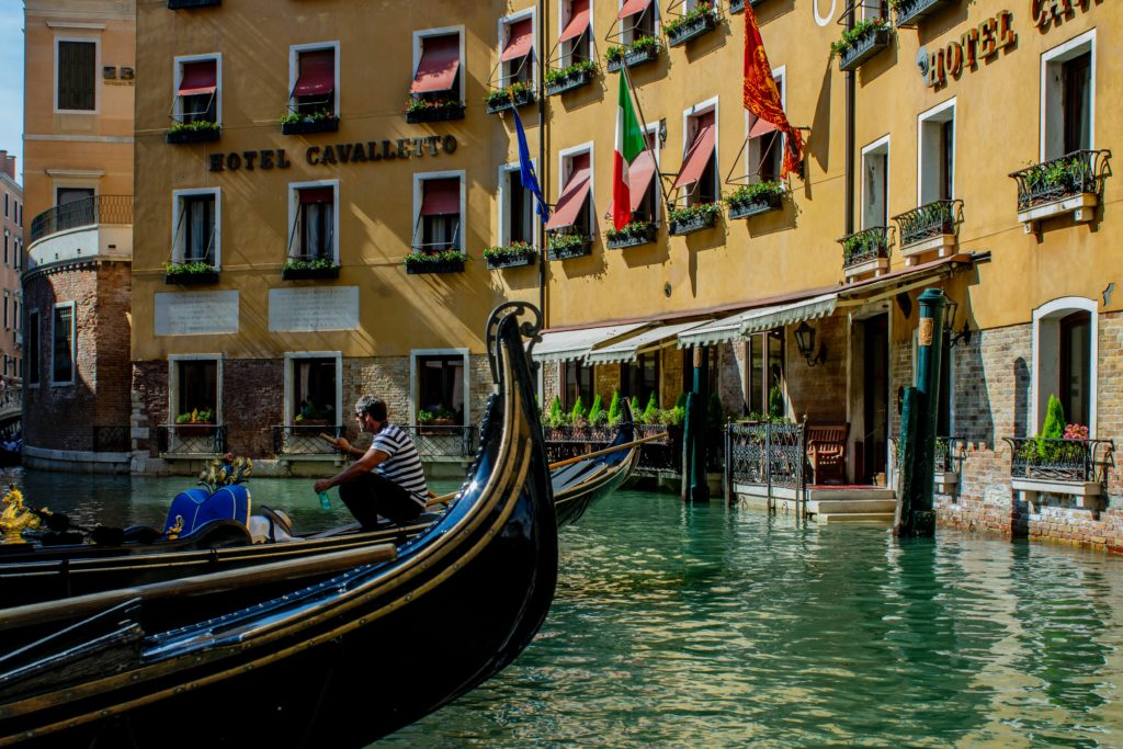 canal and gondola in venice