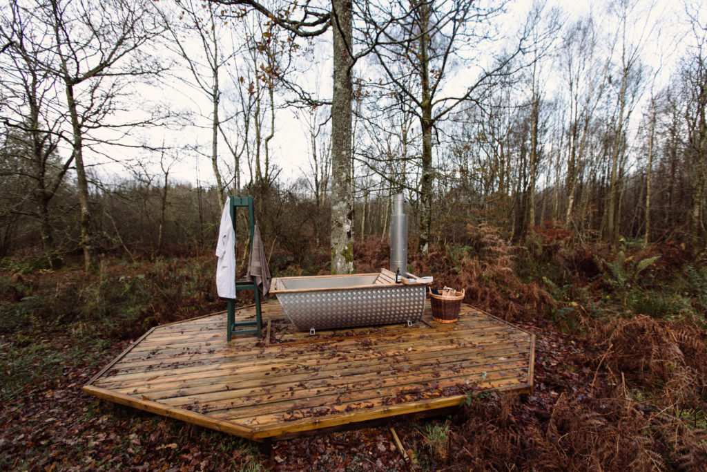 outdoor wood fired bath