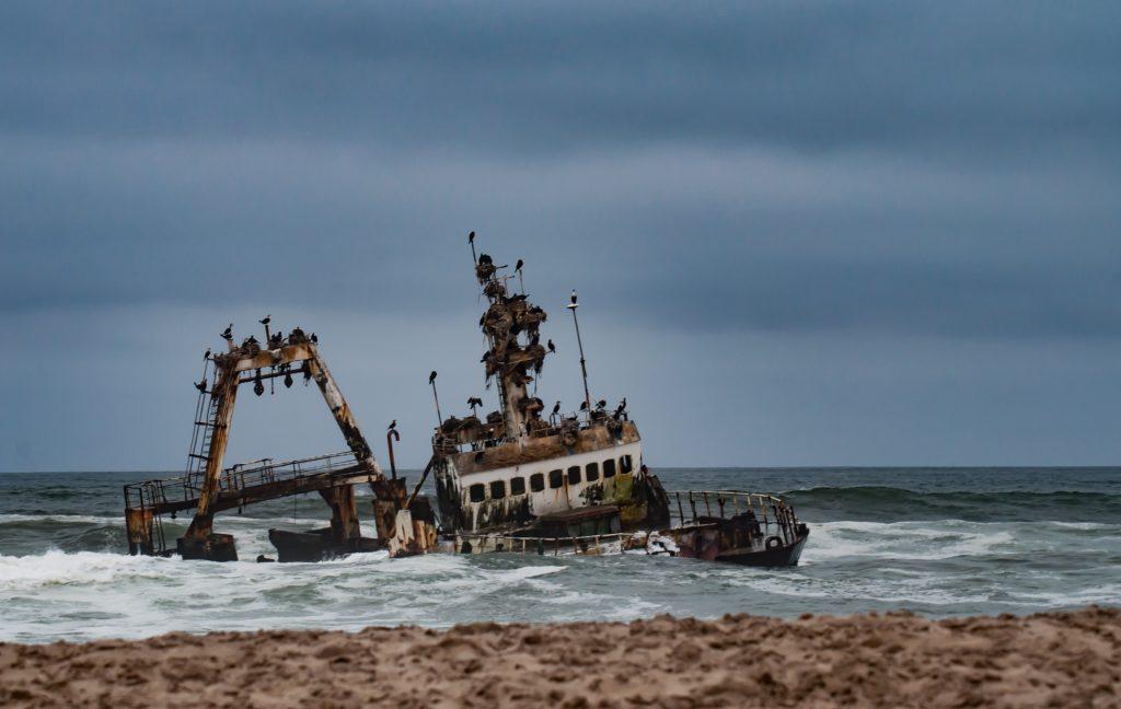shipwreck off the coast of the namibia