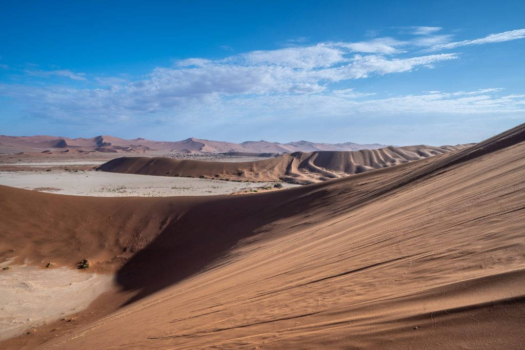 sand dunes and desert in namibia