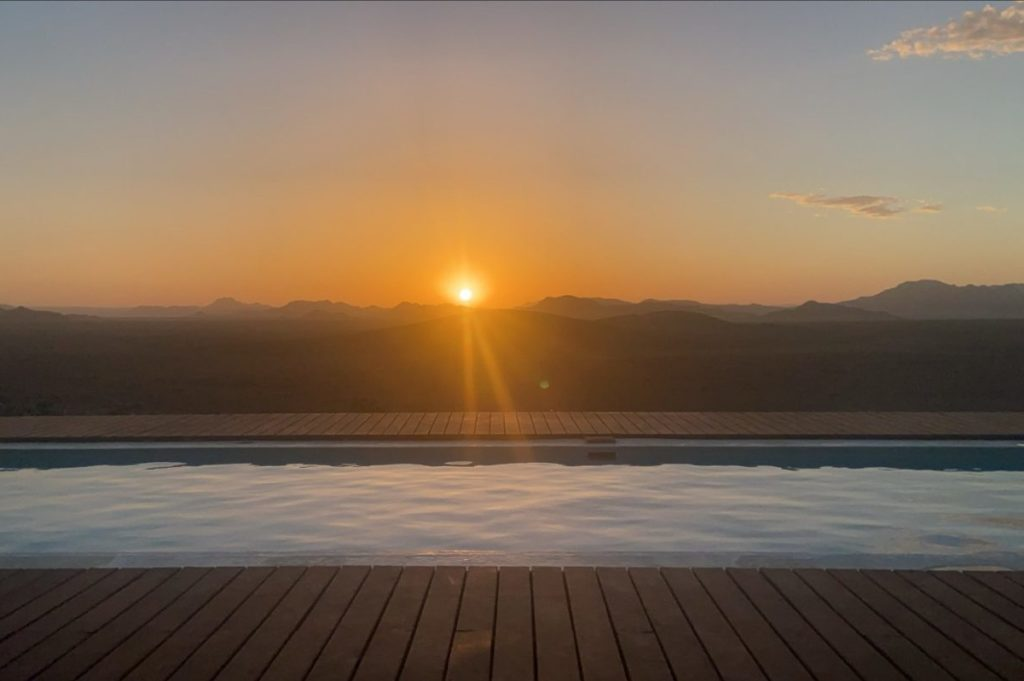 sunset over a view from a lodge in namibia