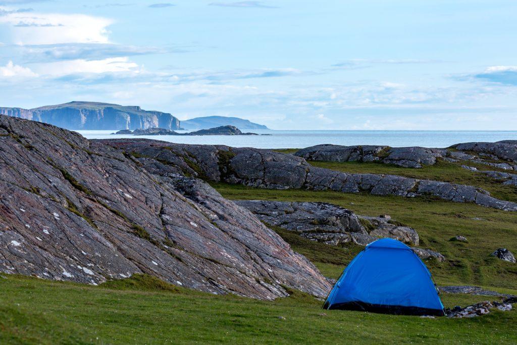 blue tent on the scottish coast