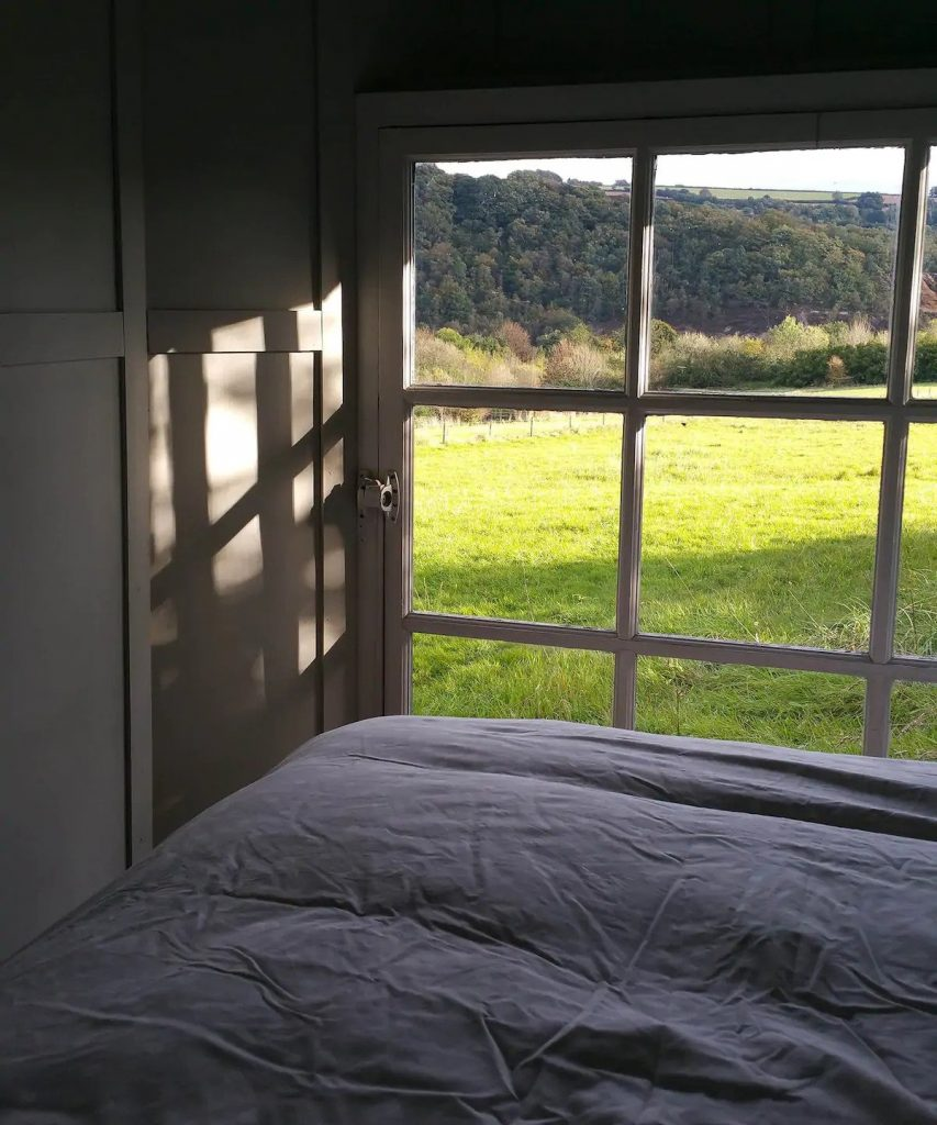 bed in tiny accommodation in cornwall