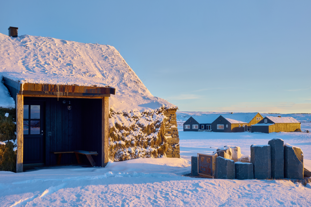 eco lodge retreat in iceland in the snow