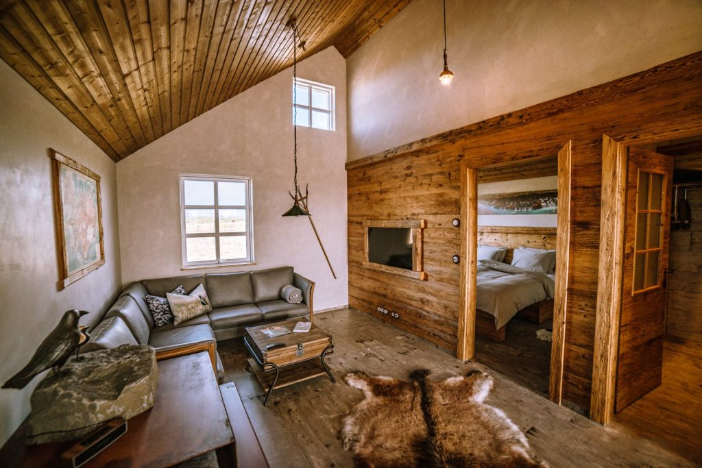 eco lodge retreat in iceland living space