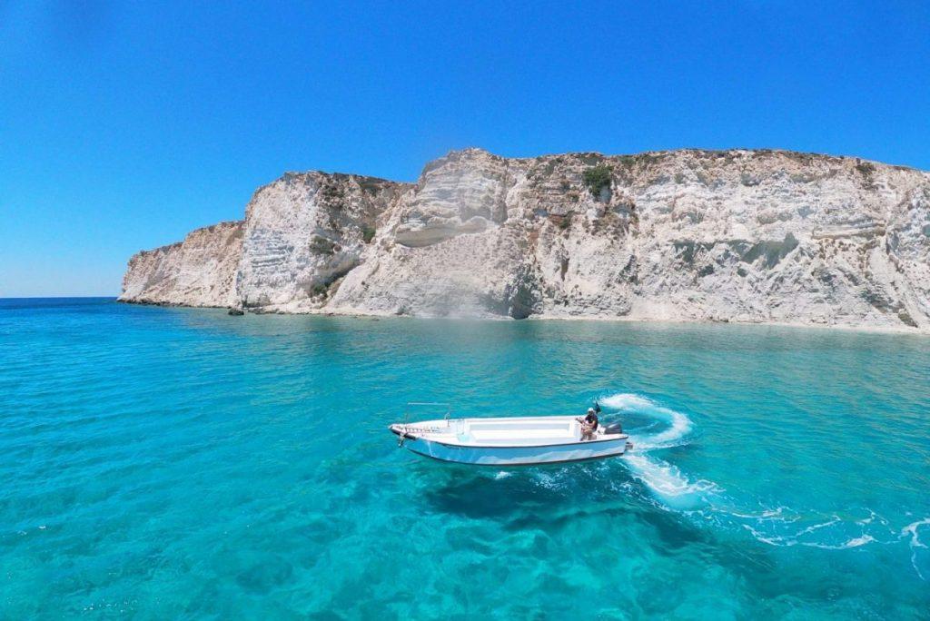 boat on the sea near crete