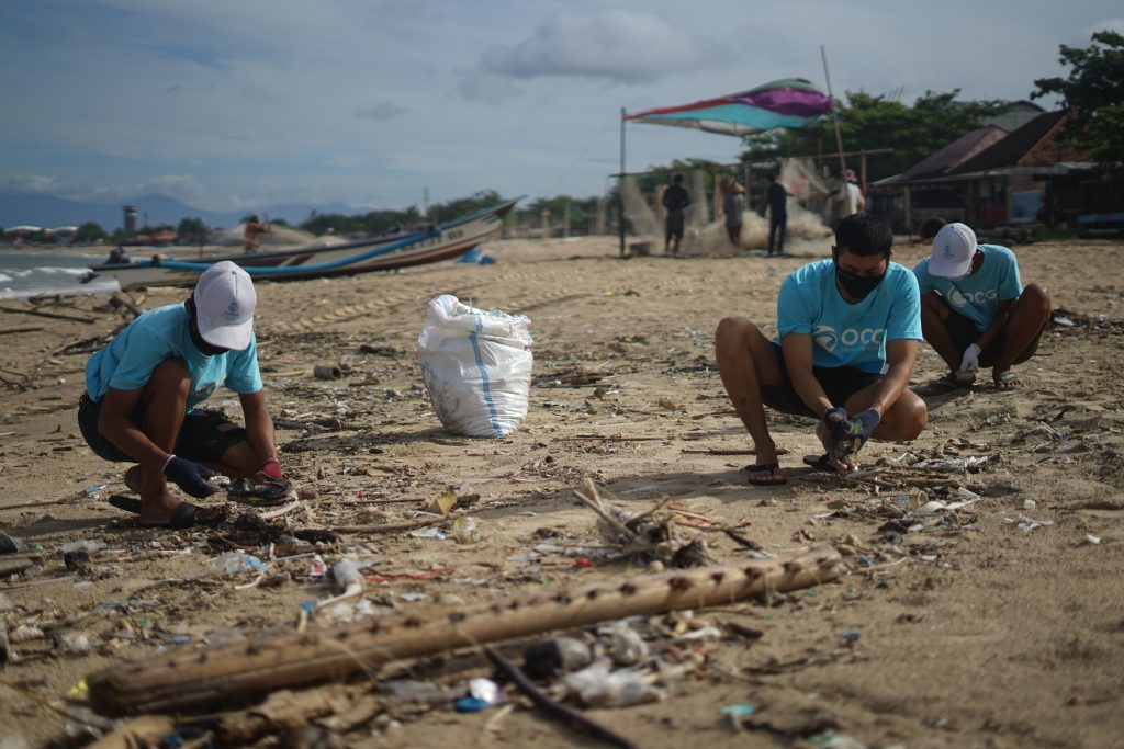 people cleaning up a beach