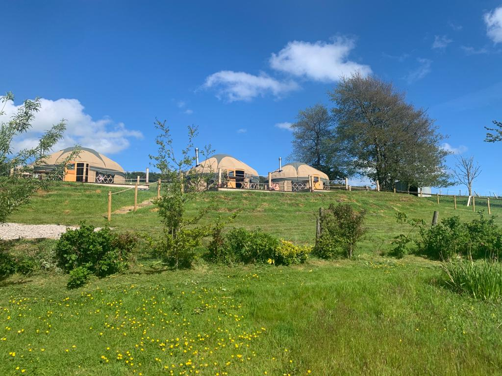 yurts on a grassy hill in cornwall