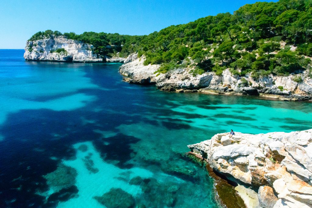 sea cliffs and trees in menorca