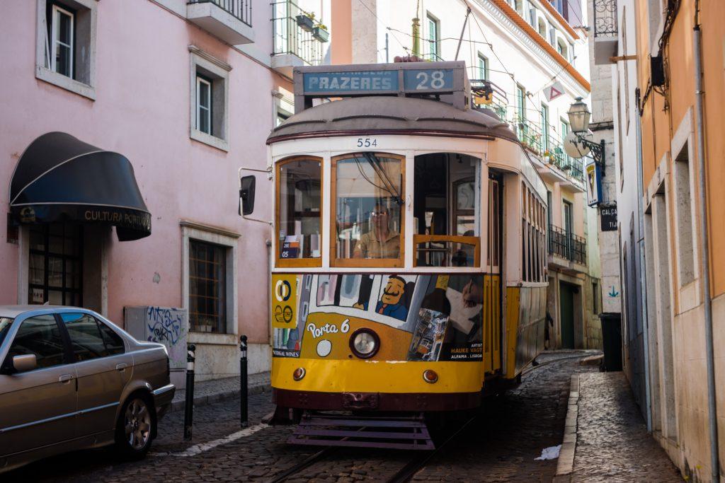 tram in lisbon streets