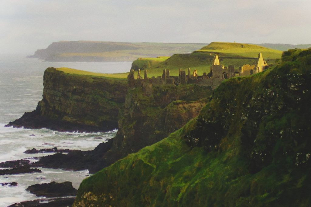 cliffs and a castle in ireland