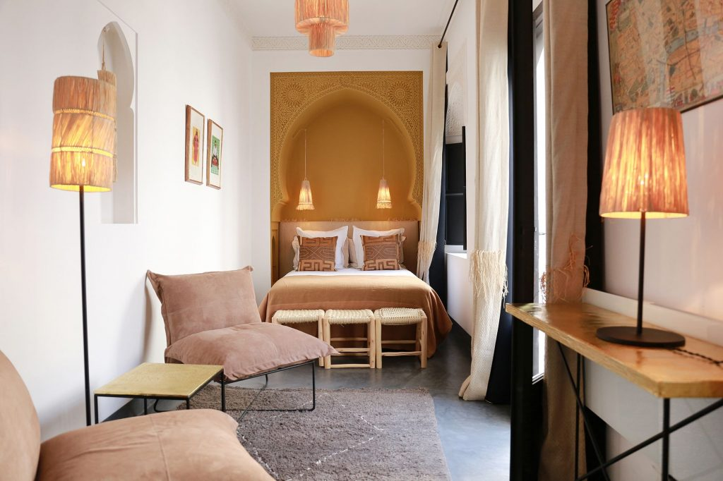 double bedroom in a riad in marrakech